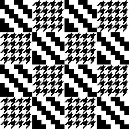 Seamless black and white pattern with geometric elements. Autumn textile collection.