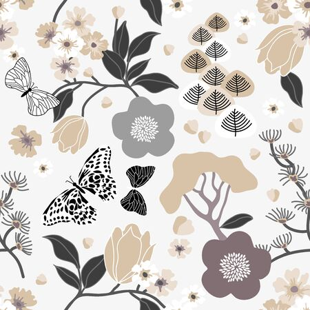 Monochrome seamless vector pattern inspired by kimono art. Beautiful flowers, trees and leaves on contrast background. Retro textile collection.