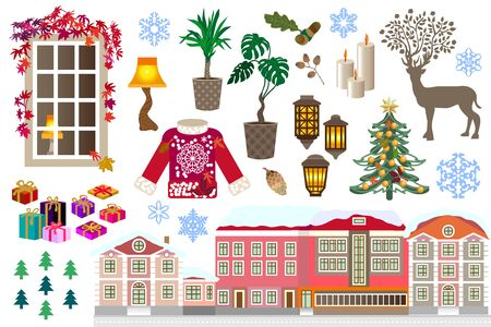 Winter town, window with warm lamp light, home plants, woolen sweater, Christmas gifts, Xmas tree, snowflakes and other symbols.
