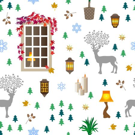 Winter symbols on monochrome background. Nordic textile collection.
