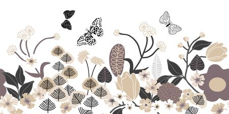Beautiful flowers and butterflies on white background. Oriental textile collection.