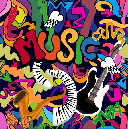 Seamless vector pattern piano, guitar, saxophone and other graphic elements inspired by street art. Template for cards, covers and textile design. Ilustração