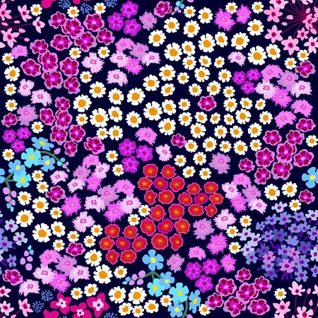 Seamless botanical pattern with small colorful wildflowers on dark background. Vintage textile collection.