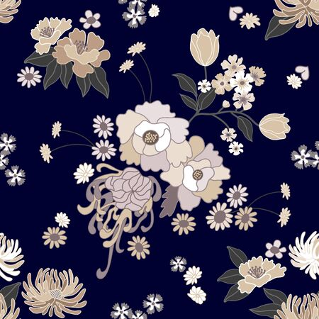 Seamless vector pattern with asters, chrysanthemums, daisies and wild flowers on dark background. Oriental textile collection.