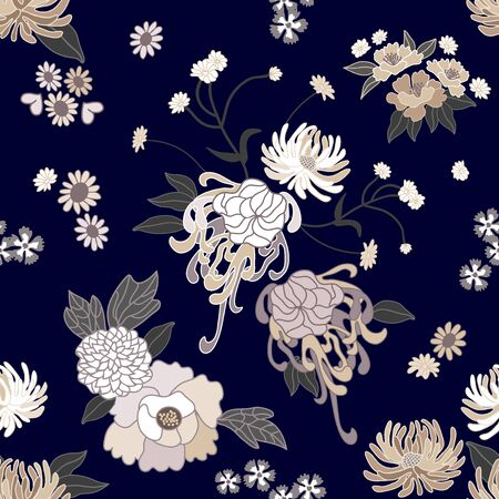 Seamless vector pattern with asters, dahlias, chrysanthemums, daisies and wild flowers on dark background. Oriental textile collection.