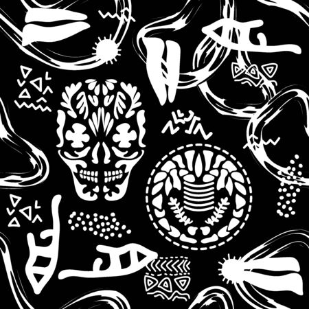 Skulls, skeletons, floral ornaments and abstract elements on dark background. Ethnic design collection.
