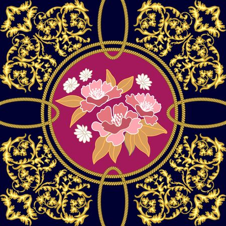 Baroque scrolls, cords and abstract wildflowers inspired by oriental arts. Vintage textile collection.