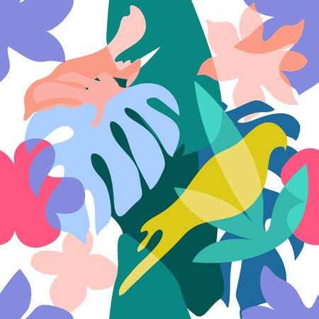 Colorful parrots, leaves and flowers with overlapping shapes. Retro textile collection.