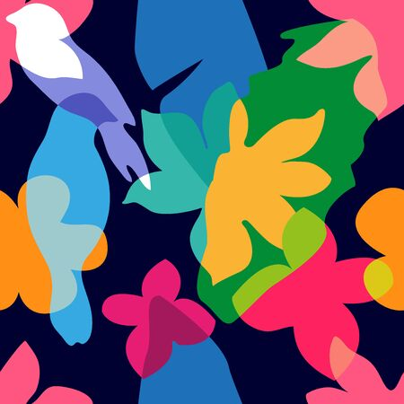 Colorful birds, leaves and flowers with overlapping shapes. Retro textile collection.  イラスト・ベクター素材