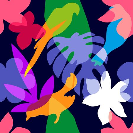 Colorful birds, palm leaves and flowers with overlapping shapes. Retro textile collection.