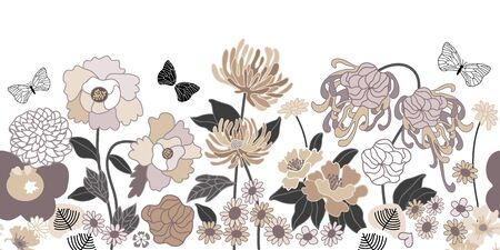 Monochrome seamless vector pattern inspired by kimono motifs. Beautiful flowers and leaves on dark background. Retro textile collection.