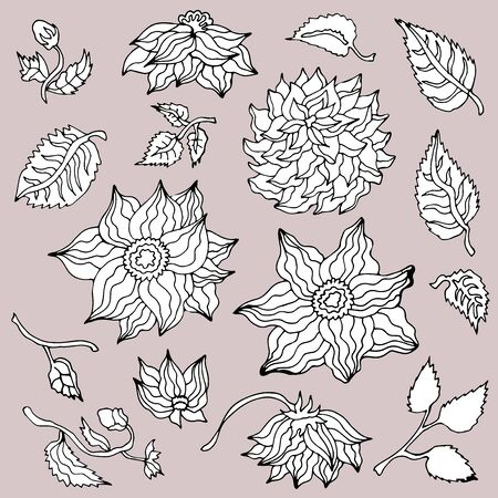 Vector collection with Japanese motifs. On grey background.