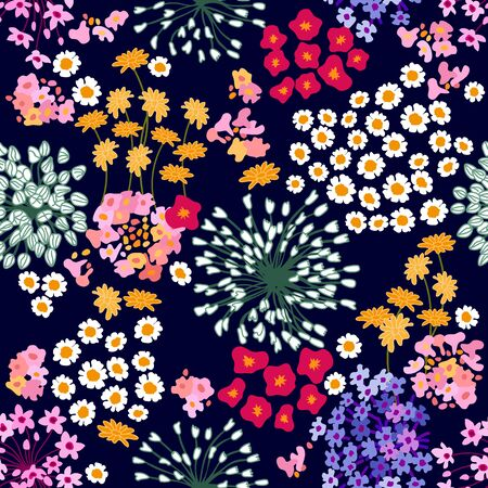 Seamless vector print with bright inflorescences. Retro textile collection.