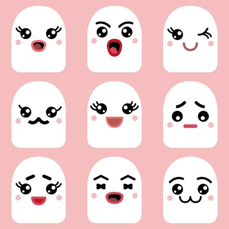 Cute fantasy creatures with different emotions. Happy, sad, angry, blinking faces.