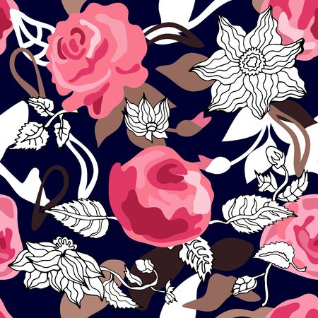Seamless vector print with romantic floral motifs. Retro textile collection.