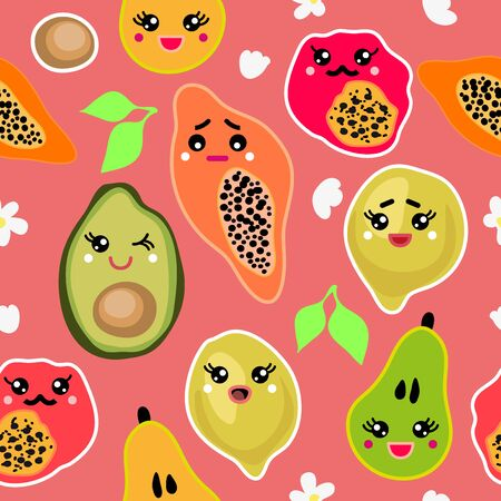 Seamless vector pattern with colorful lemons, avocado, pear and papaya inspired by the modern oriental culture. Funny design for textile, cards and gift wrappings. Illustration