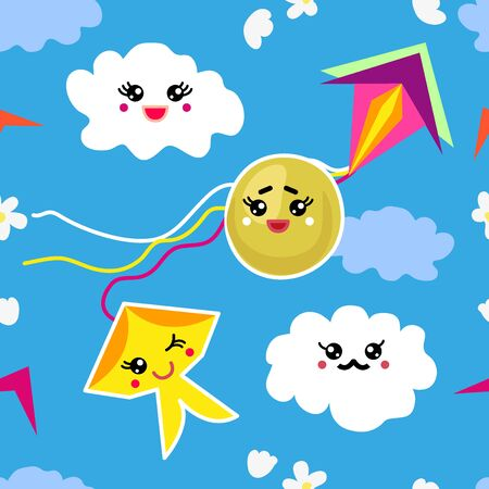 Seamless vector pattern with clouds, sun and kites inspired by the modern oriental culture. Funny design for textile, cards and gift wrappings.