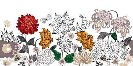 Seamless vector pattern inspired by kimono art. Beautiful flowers and leaves on white background. Retro textile collection. Illustration
