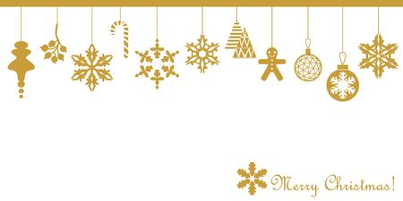 Minimal design with decorative golden elements. Fir trees, Xmas balls, gingerbread, snowflakes. On white background.