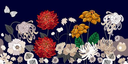 Seamless vector pattern inspired by kimono art. Beautiful flowers and leaves on dark background. Retro textile collection.