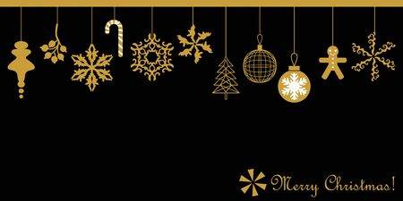 Minimal design with decorative golden elements. Fir trees, Xmas balls, gingerbread, snowflakes. On black background.