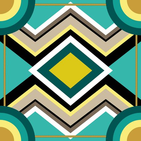 Squared textile pattern with abstract shapes. Turquoise palette.