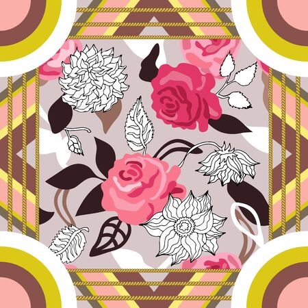 Squared textile pattern with abstract shapes. Pink palette. Banco de Imagens - 128858014