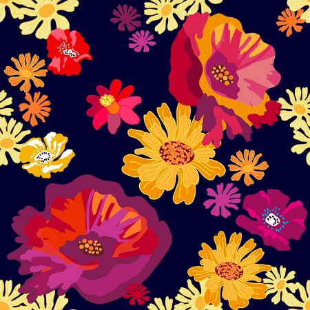 Seamless vector pattern with abstract floral elements. Retro textile collection. On black background.
