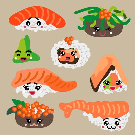 Sushi, rolls and vasabi with different face emotions.