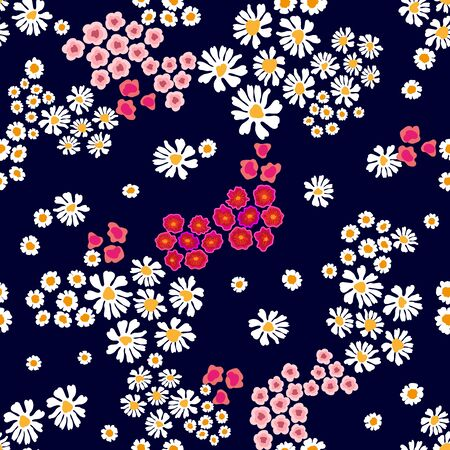 Seamless vector print with small flowers. Summer textile collection.  イラスト・ベクター素材