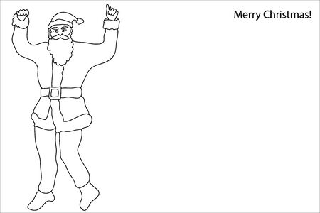 Merry Christmas Card. Continuous line drawing style. Template for coloring books and pages, invitations, banners, posters.  イラスト・ベクター素材