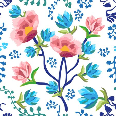 Seamless floral pattern with Indian motifs.  Vintage textile collection.