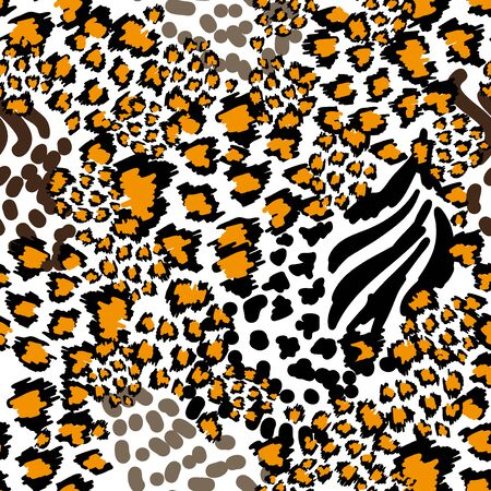 Seamless vector pattern with leopard texture. Ethnic textile collection.  イラスト・ベクター素材