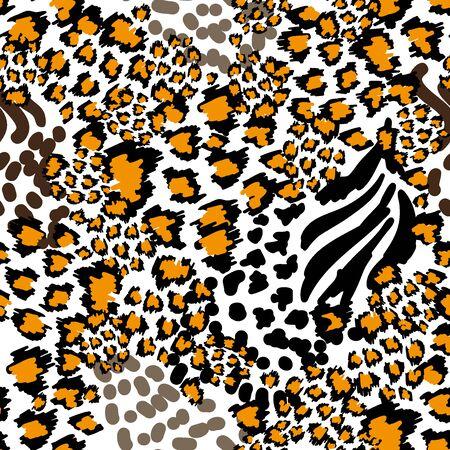 Seamless vector pattern with leopard texture. Ethnic textile collection. Ilustração