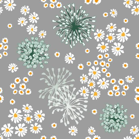 Seamless vector pattern with small flowers on grey background. Retro textile collection.