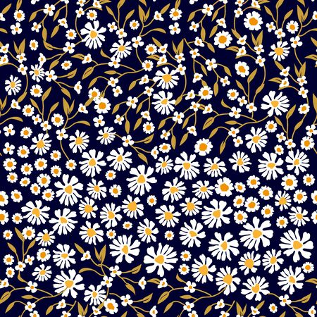 Seamless vector pattern with small flowers on black background. Retro textile collection.  イラスト・ベクター素材