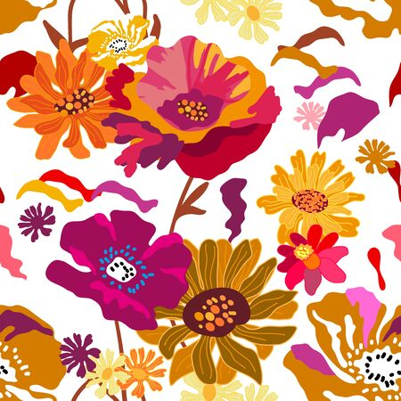 Seamless floral pattern with Spanish motifs. Trendy design for textile, cards and covers.
