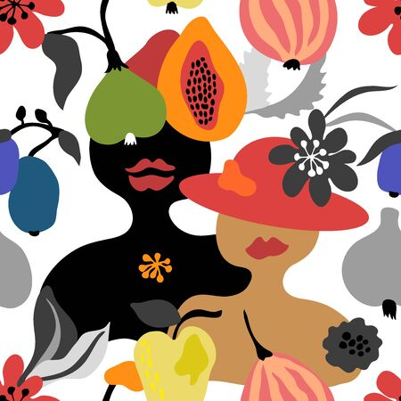 Seamless vector pattern with abstract woman and tropical fruits. Modern design for scarfs, dresses, swimwear, cards, posters.
