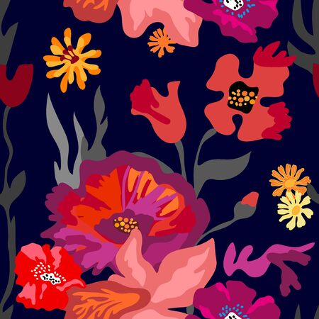 Seamless vector pattern with colorful floral elements. Retro textile collection. Ilustração