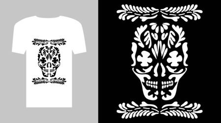 Simple black and white graphic with skull and floral ornaments. Illustration
