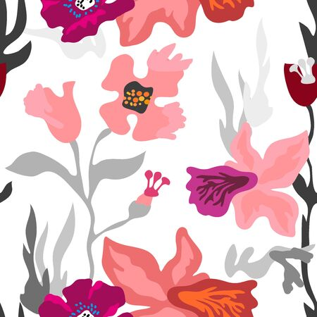Seamless vector pattern with colorful floral elements. Retro textile collection. Stock Illustratie