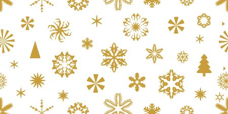 Golden snowflakes with different ornaments. Retro design collection. On white background.