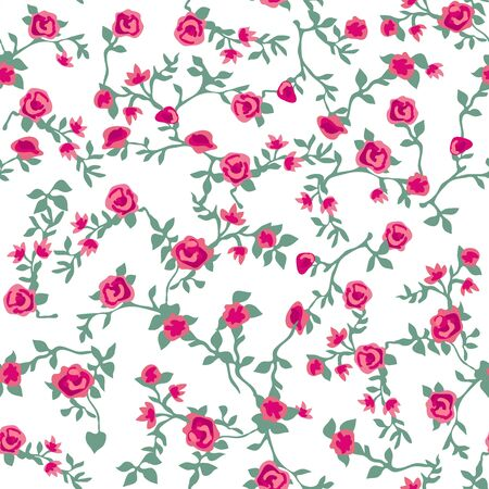 Trendy fabric pattern with miniature flowers. Botanical seamless print with different floral elements. Vintage textile collection. Stock Illustratie