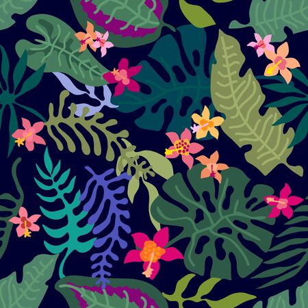 Seamless vector pattern with palm leaves, exotic flowers and other plants. Aloha textile collection. On dark background.
