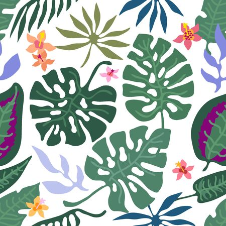 Seamless vector pattern with palm leaves, exotic flowers and other plants. Aloha textile collection. On dark background. Archivio Fotografico - 129490091