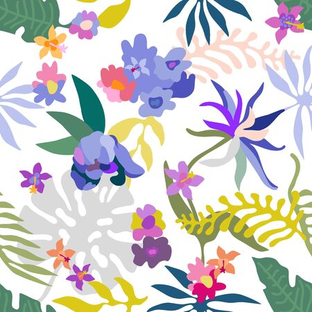 colorful floral textile collection. On white background.