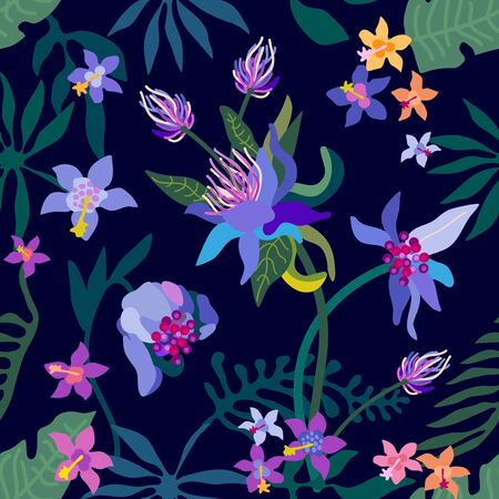 Seamless vector pattern with exotic flowers and palm leaves on black background. Illustration