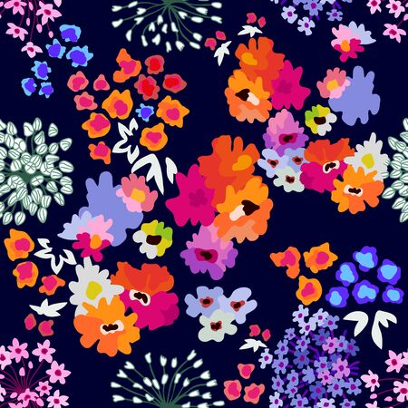 Seamless vector print with small bright flowers. Summer textile collection.