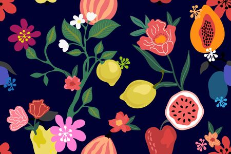 Abstract tropical print with papaya, lemons, apples and blooming plants on black background.