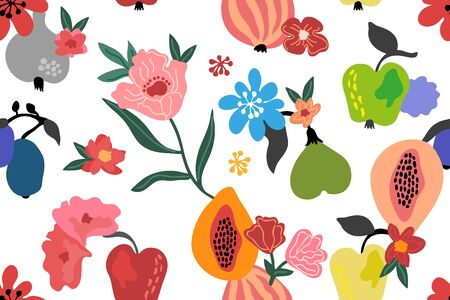 Abstract tropical print with papaya, lemons, apples and blooming plants on white background.